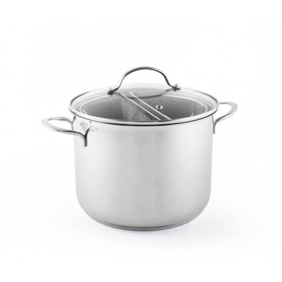 Panela de Aço Inox para Pasta e Vegetais - 6 Litros - Bialetti
